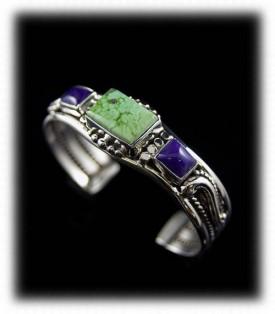 Orvil Jack Turquoise and Sugilite Cuff Bracelet