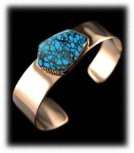 Paiute Turquoise Jewelry  - Gold Bracelet