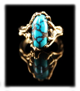 Red spider web and sky blue Persian Turquoise and 14k gold ring by Nattarika Hartman