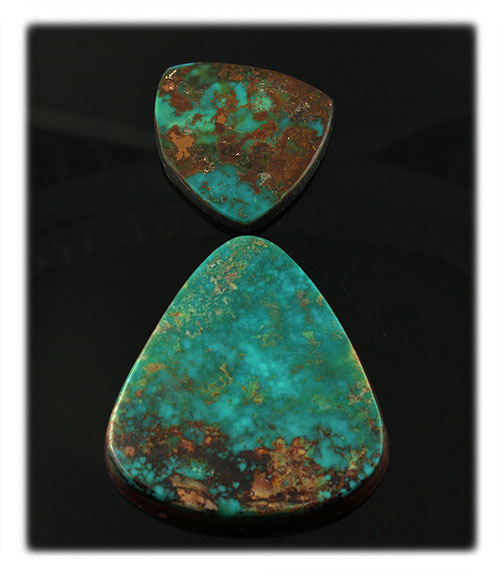 Aqua Blue Turquoise Cabochons from  Pilot Mountain