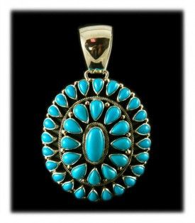 Genuine Native American  Turquoise  Cluster Pendant