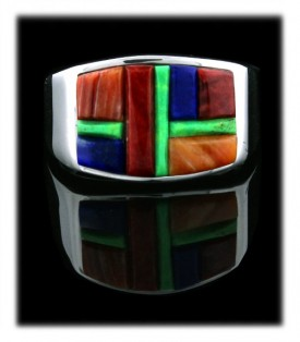 Handmade Native American  Gemstone Inlaid Ring