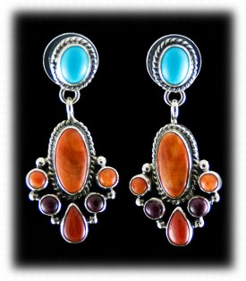 High Quality Native American made Silver Earrings - Southwestern Silver Jewelry