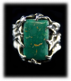 Quality Mens Ring - Silver Jewelry with Broken Arrow Turquoise