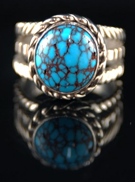 Rare Silver Jewelry with Red Web Turquoise