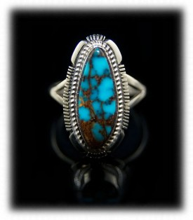 American Indian Ring with Spiderwebbed Red Mountain Turquoise