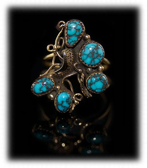 American Indian Handmade Turquoise Ring with Red Mountain Spiderweb Turquoise