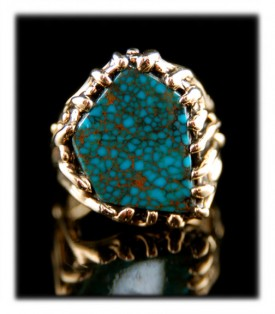 Shown here is a one of a kind ultra high grade Red Mountain Turquoise Gold Ring for Men by John Hartman of Durango Colorado