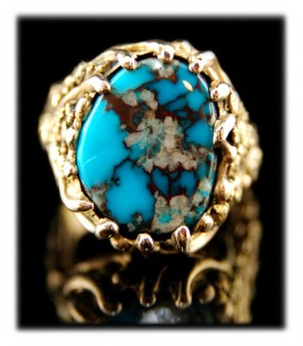 Red Web Bisbee Turquoise Ring in Gold