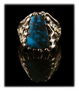 Pictured Here is an incredible Red Web Bisbee Turquoise Gold Ring for Men by Durango Silver Company
