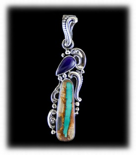 Ribbon Turquoise Pendant with Sugilite