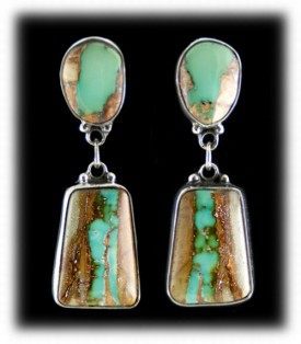 Ribbon Turquoise Native American Earrings