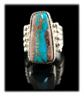 Navajo Native American Indian handmade Sterling Silver and Boulder Turquoise Ring with Bisbee Turquoise