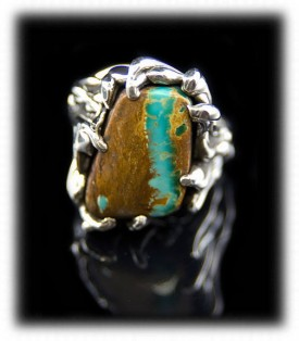 Pictured here is a fancy Lost wax style Boulder Turquoise Ring by Crystal Hartman of Durango, Colorado USA which is of a signature style for the artist.