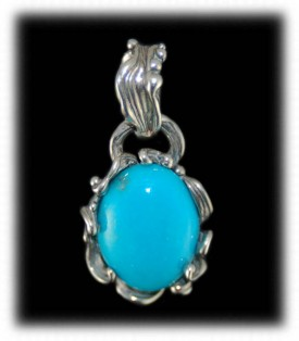 Oval shaped lost wax Sleeping Beauty Turquoise pendant