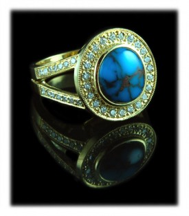 investment quality Bisbee Turquoise  and Diamond Ring