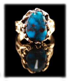 Royal Blue Bisbee Turquoise Ring in 14ky Gold