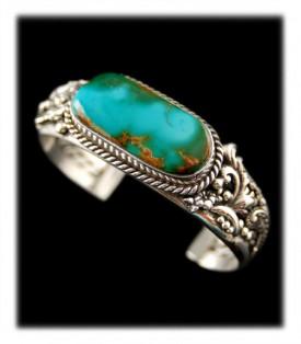 Royston Two Tone Turquoise Bracelet by John Hartman