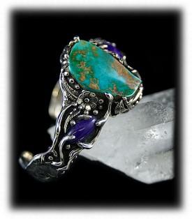 Green Turquoise Bracelet - Lost Wax Style