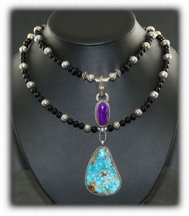 Royston Turquoise Necklace with Sugilite