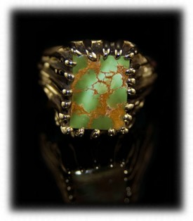 Royston Turquoise Mens Gold Ring  by Durango Silver Company