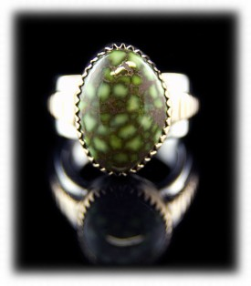 Gold and Silver - Sterling Silver Gold Ring with Lime Turquoise