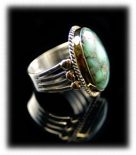 Silver and Gold Turquoise Ring - Mens Gold Silver Ring