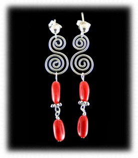 Silver with Coral Dangle Bead Earrings