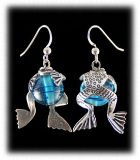 Silver Frog Beaded Earrings
