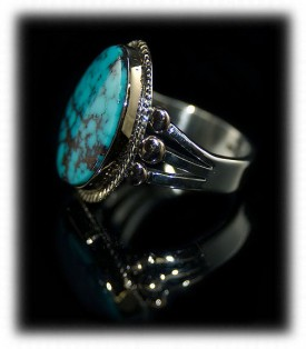 Silver Gold Ring with Turquoise - Silver and Gold
