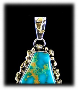 Silver and Gold Nuggets with quality Turquoise