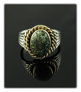 Art Deco style silver and 14k ring with spiderweb Damele