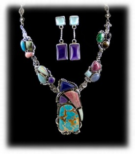 Silver Necklace with muilti-color gemstones - Silver Jewelry Necklaces