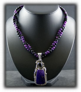 Silver Necklace with Sugilite