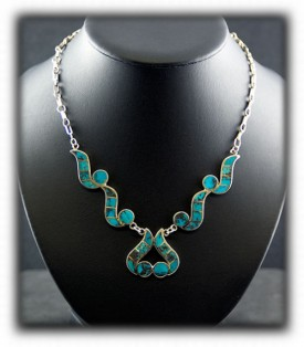 Turquoise Inlay Silver Necklace