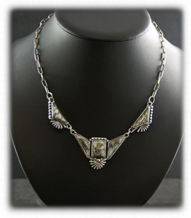 Silver Necklace Inlaid with Silver Ore
