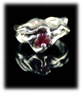 Silver Ring Band with a Burmese Ruby