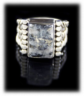 Mens Silver Ring with Silver Ore