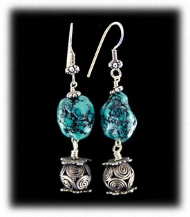 Turquoise Bead Dangle Earrings