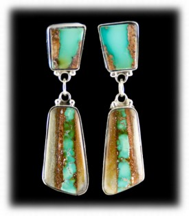 Silver Jewelry - Ribbon Turquoise Earrings