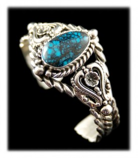 Victorian Style Turquoise Handcrafted Silver Bracelet