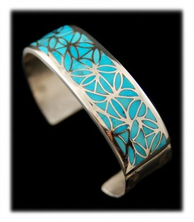 Silver and Blue Turquoise Inlaid Navajo Bracelet