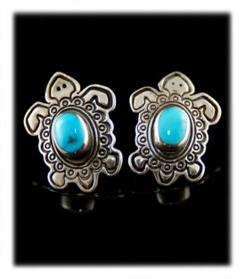 Silver Turquoise Post Earrings - Silver Turtles with Kingman Turquoise