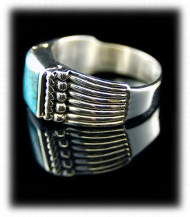 Silver Mens Ring with Turquoise