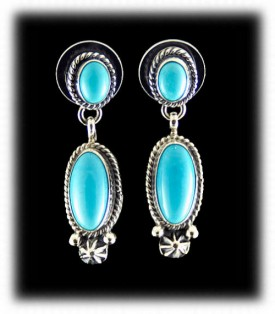 Sleeping Beauty American Indian Earrings - Navajo