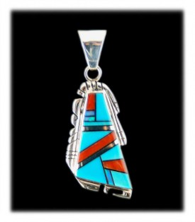 Inlay Sleeping Beauty Turquoise pendant with Italian coral