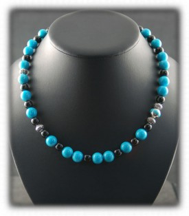 A rare genuine Sleeping Beauty Turquoise Beaded Necklace with Thai Silver beads by Nattarika Hartman