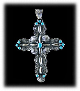 Handmade Sleeping Beauty Turquoise Cross