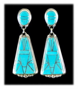Sleeping Beauty Turquoise Inlaid  Drop  Earrings