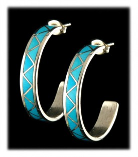 Sleeping Beauty Turquoise  Inlaid Hoop Earrings